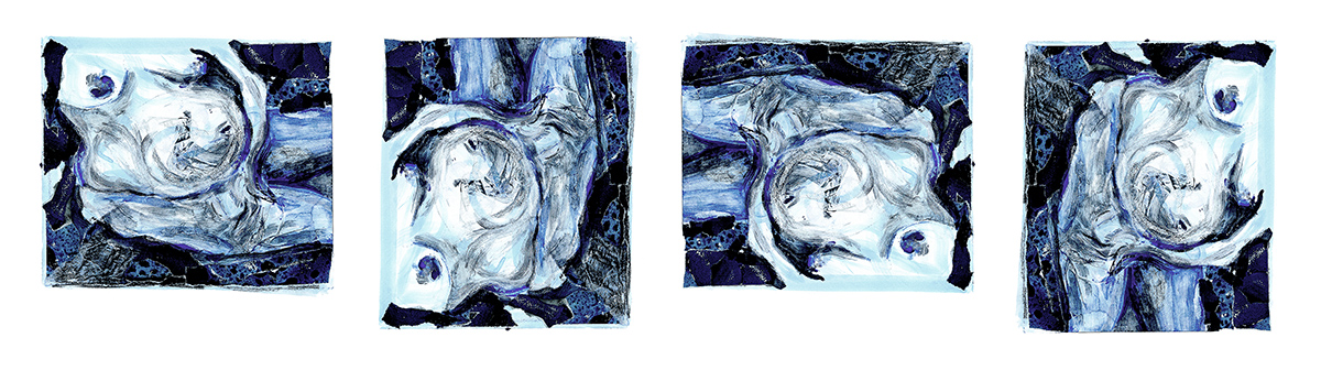 Four images of Bauch in Blau rotated